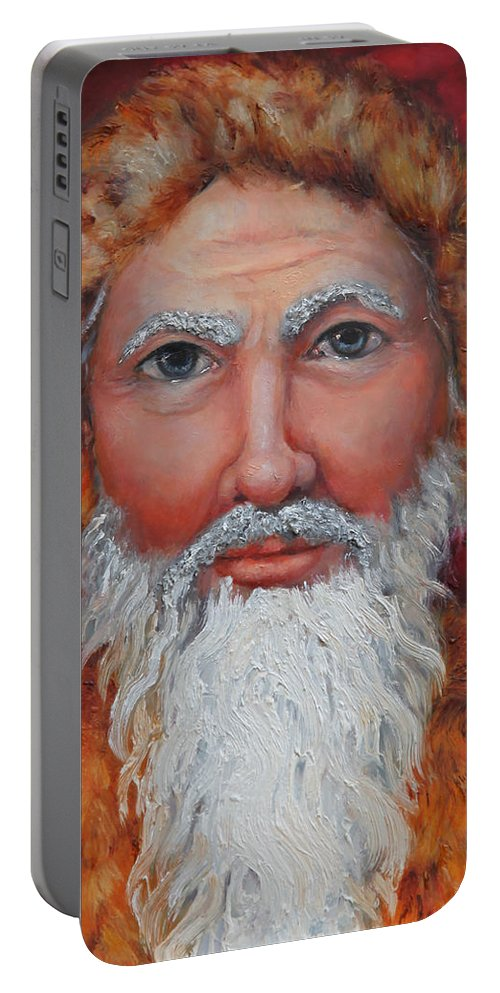 Santa Claus Portable Battery Charger featuring the painting 3d Santa by Portraits By NC