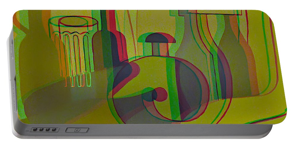 3d Portable Battery Charger featuring the painting 3d Stereo Cubism - Use Red-cyan 3d Glasses by Brian Wallace