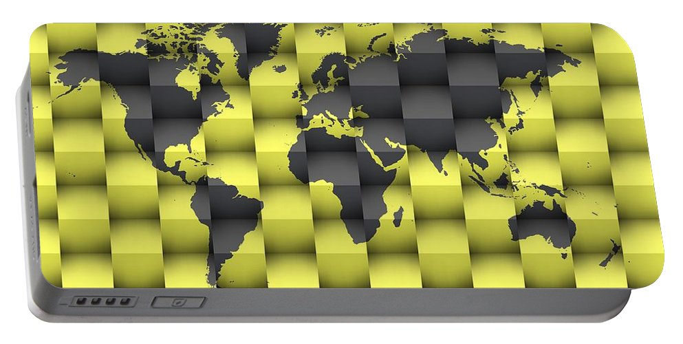 Map Of The World Portable Battery Charger featuring the digital art 3d World Map Composition 4 by Alberto RuiZ