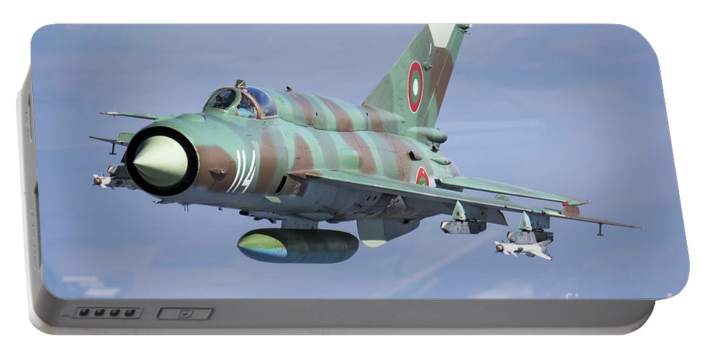 Bulgaria Portable Battery Charger featuring the photograph A Bulgarian Air Force Mig-21bis Armed by Daniele Faccioli