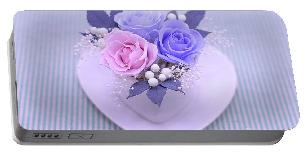 Valentine Portable Battery Charger featuring the photograph A Gift Of Preservrd Flower And Clay Flower Arrangement, Blue And by Eiko Tsuchiya