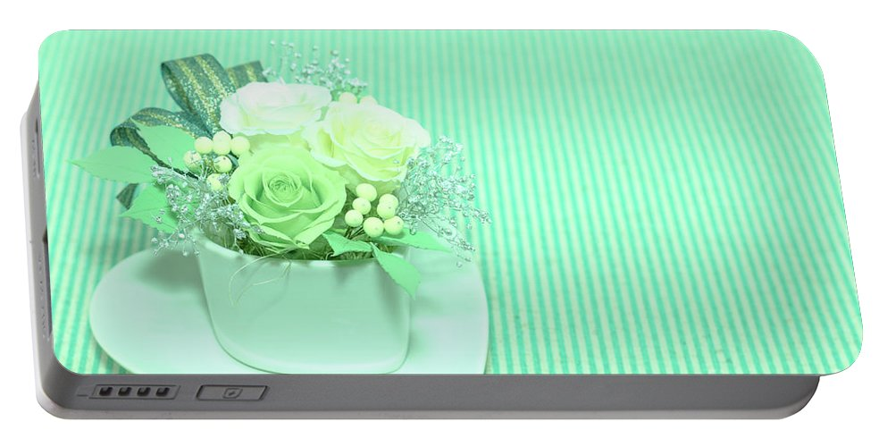 Valentine Portable Battery Charger featuring the photograph A Gift Of Preservrd Flower And Clay Flower Arrangement, White An by Eiko Tsuchiya