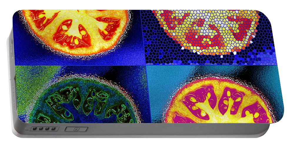 Tomatoes Portable Battery Charger featuring the photograph 4 Abstract Tomatoes by Nancy Mueller