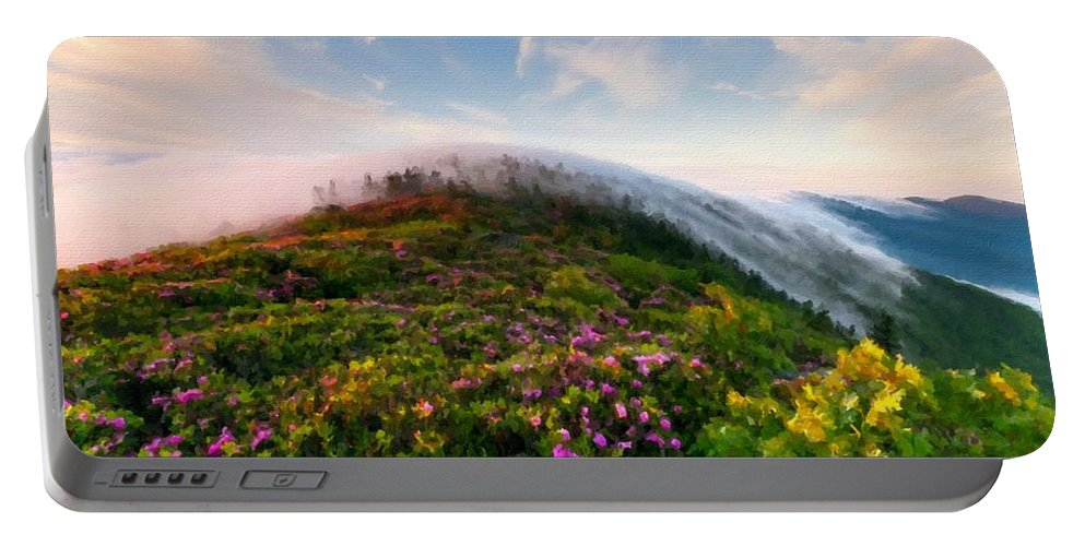 T Portable Battery Charger featuring the digital art Acrylic Landscape by Malinda Spaulding
