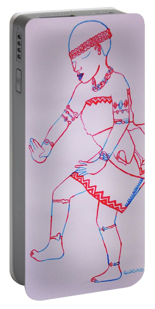 Jesus Portable Battery Charger featuring the painting Adowa Dance Ghana by Gloria Ssali