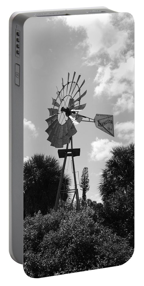 Black And White Portable Battery Charger featuring the photograph Aermotor Windmill by Rob Hans