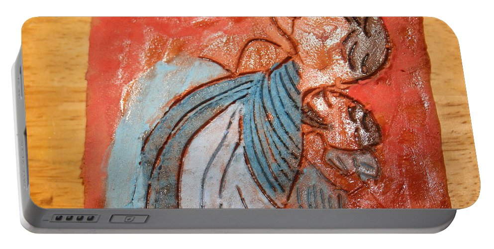Jesus Portable Battery Charger featuring the ceramic art Akaweese - Tile by Gloria Ssali