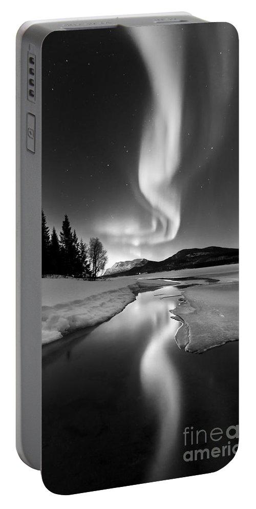 Aurora Borealis Portable Battery Charger featuring the photograph Aurora Borealis Over Sandvannet Lake by Arild Heitmann