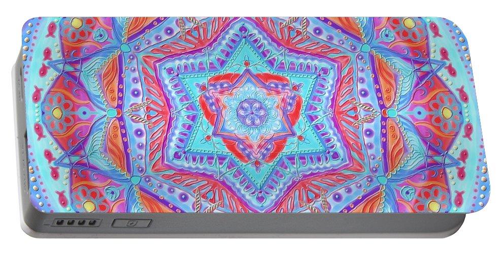 Birth Portable Battery Charger featuring the digital art Birth Mandala- Blessing Symbols by Sandrine Kespi