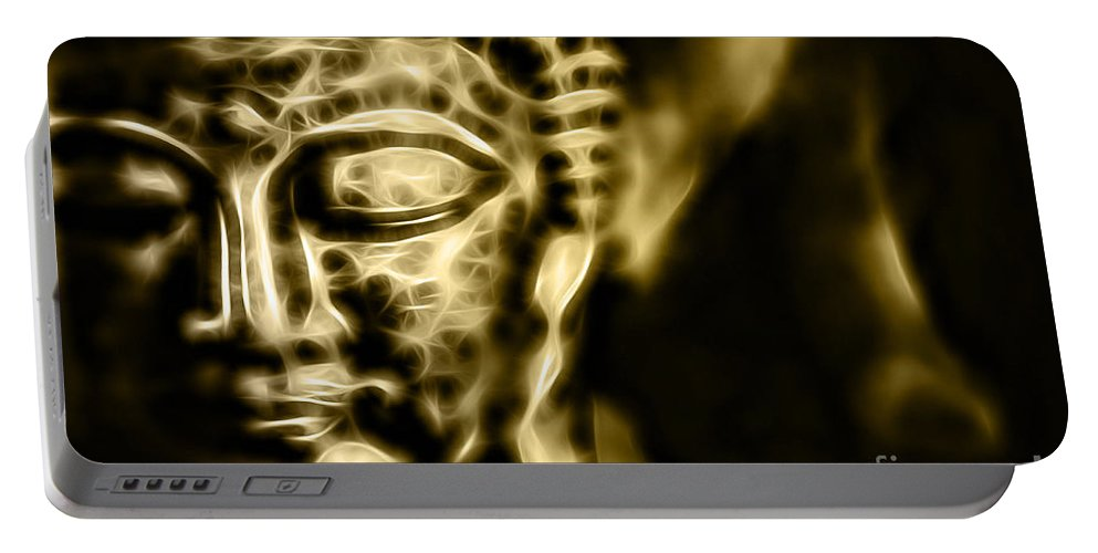 Buddah Portable Battery Charger featuring the mixed media Buddah Collection by Marvin Blaine