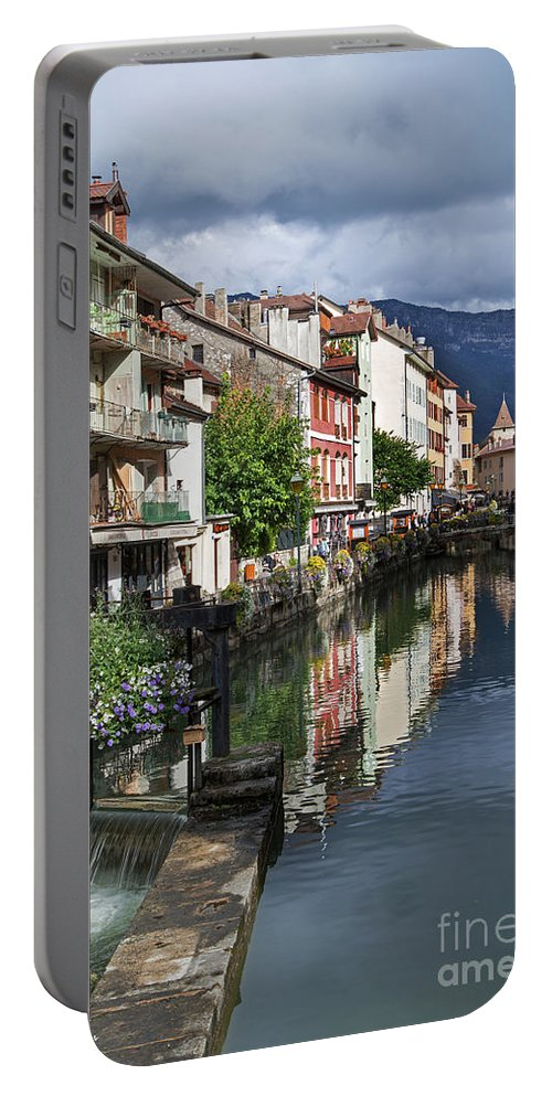 Canals Of Annecy Portable Battery Charger featuring the photograph Canals Of Annecy by Yefim Bam