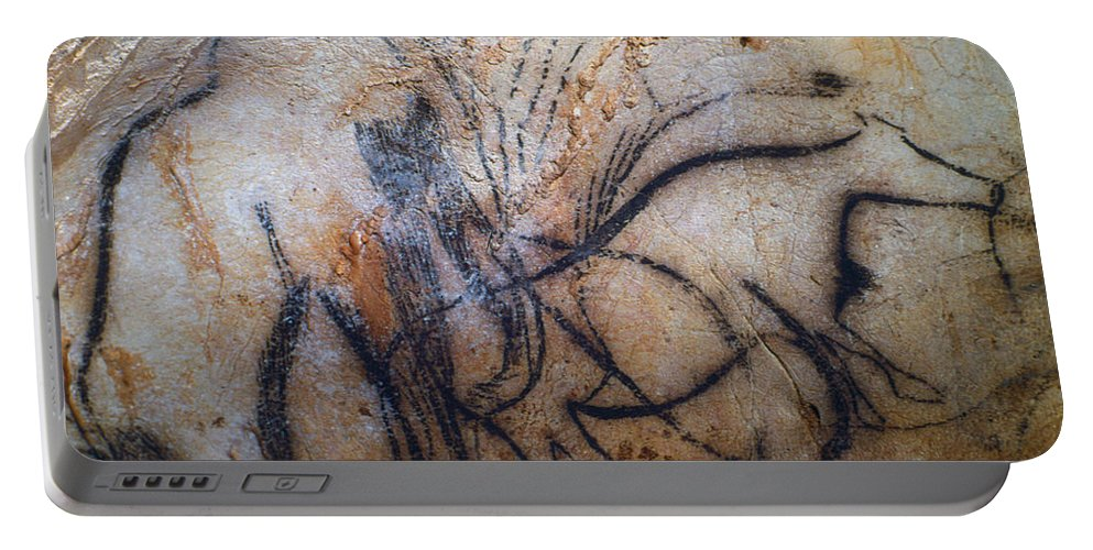 15 Portable Battery Charger featuring the photograph Cave Art: Mammoth by Granger