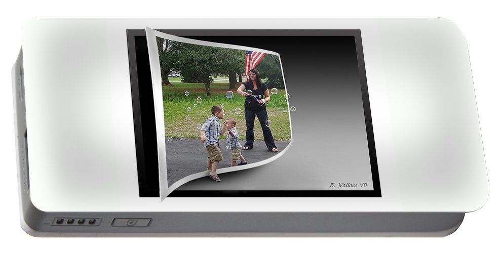 2d Portable Battery Charger featuring the photograph Chasing Bubbles by Brian Wallace