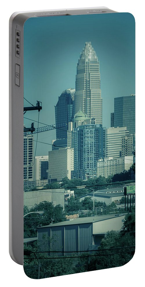 Sunset Portable Battery Charger featuring the photograph Early Morning Sunrise Over Charlotte North Carolina Skyscrapers by Alex Grichenko