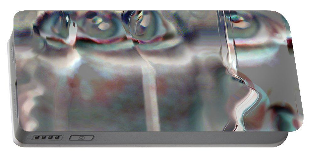 Eyes Abstract Spooky Grey Gray Weird Faces Portable Battery Charger featuring the photograph 4 Eyes by Andrea Lawrence