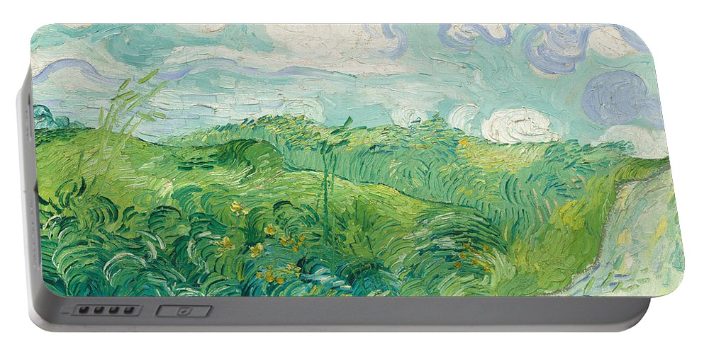 Clouds Portable Battery Charger featuring the painting Green Wheat Fields, Auvers by Vincent van Gogh