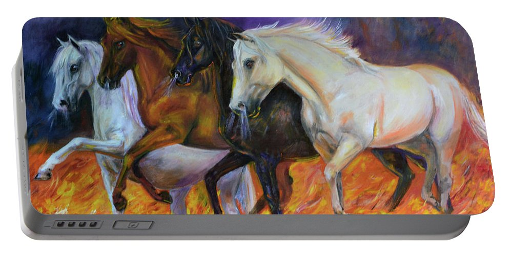 Horse Portable Battery Charger featuring the painting 4 Horses Of The Apocalypse by Olga Kaczmar