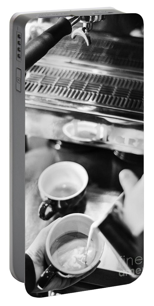 Artistic Portable Battery Charger featuring the photograph Italian Espresso Expresso Coffee Making Preparation With Machine by Jacek Malipan