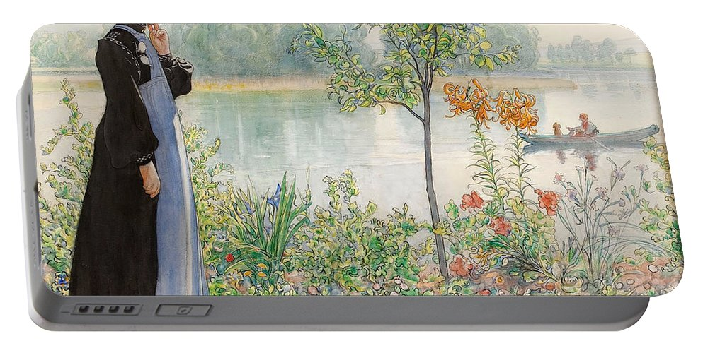 Karin By The Shore By Carl Larsson Portable Battery Charger featuring the painting Karin By The Shore by Carl Larsson