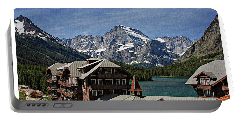Many Portable Battery Charger featuring the photograph Many Glacier Hotel by Margie Wildblood