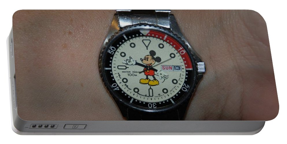 Mickey Mouse Portable Battery Charger featuring the photograph Mickey Mouse Watch by Rob Hans