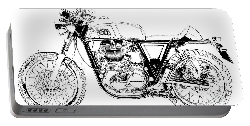 Suzuki Portable Battery Charger featuring the drawing Motorcycle Art, Black And White by Drawspots Illustrations