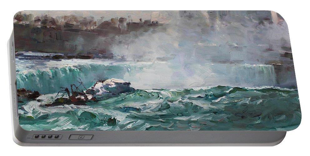 Niagara Falls Landscape Portable Battery Charger featuring the painting Niagara Falls by Ylli Haruni