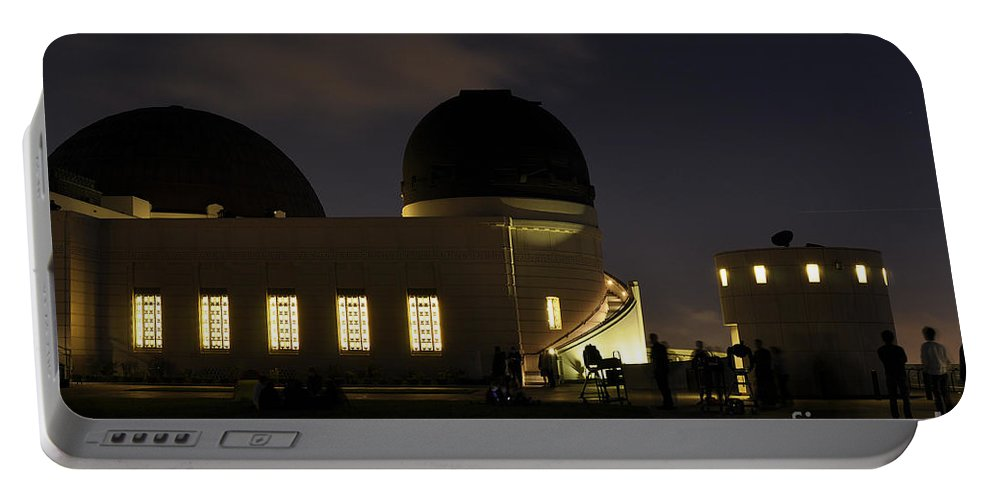 Clay Portable Battery Charger featuring the photograph Night At Griffeth Observatory by Clayton Bruster