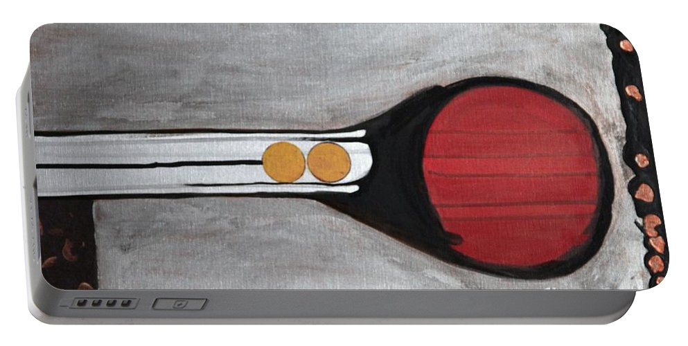 Sets Portable Battery Charger featuring the painting 4 Perplex 3 by Marlene Burns