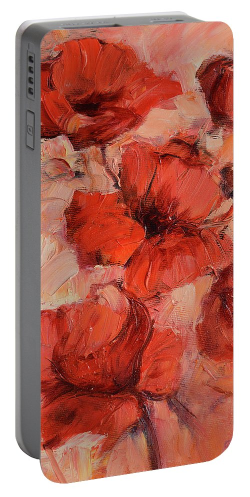 Isolated Portable Battery Charger featuring the painting Poppy Flowers Handmade Oil Painting On Canvas by Roman Ben