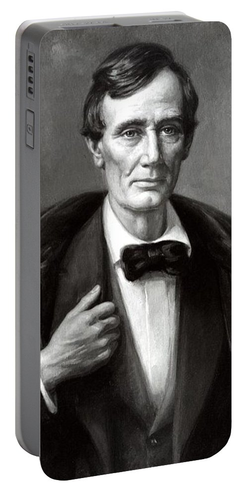 American History Portable Battery Charger featuring the mixed media President Lincoln by War Is Hell Store