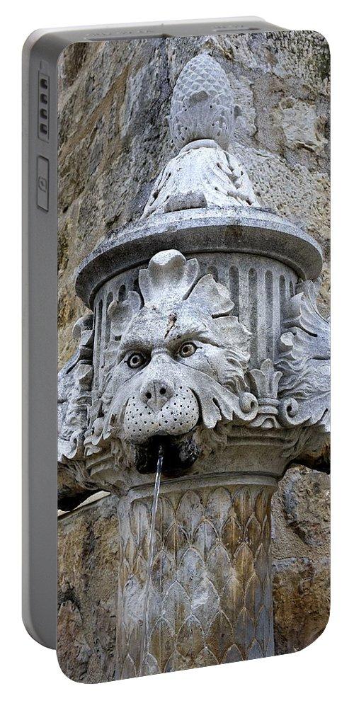 Croatia Portable Battery Charger featuring the photograph Public Fountain In Dubrovnik Croatia by Richard Rosenshein