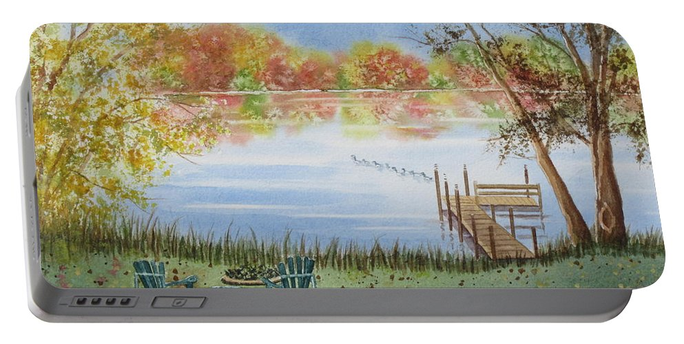 Lake Portable Battery Charger featuring the painting 4 Seasons-autumn by Deborah Ronglien