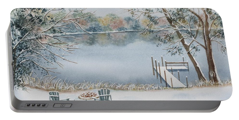 Lake Portable Battery Charger featuring the painting 4 Seasons-winter by Deborah Ronglien