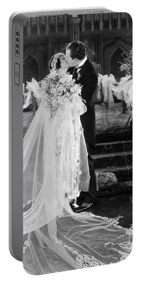 -weddings & Gowns- Portable Battery Charger featuring the photograph Silent Film Still: Wedding by Granger
