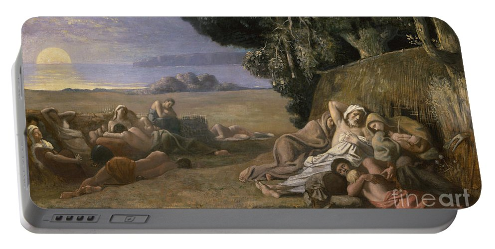 Sleep Portable Battery Charger featuring the painting Sleep by Pierre Puvis de Chavannes