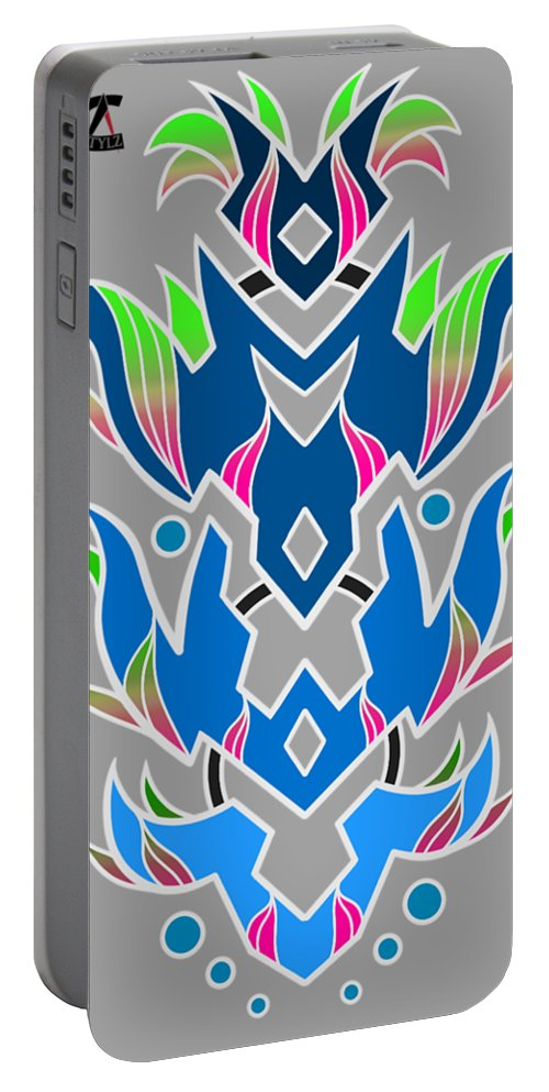 Design Portable Battery Charger featuring the digital art 4 Space Ship Formation by Sean Harriott