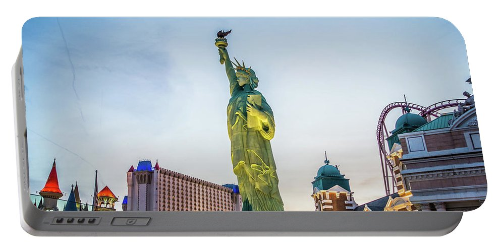 Illumination Portable Battery Charger featuring the photograph Street Scenes Around Las Vegas Nevada At Dusk by Alex Grichenko