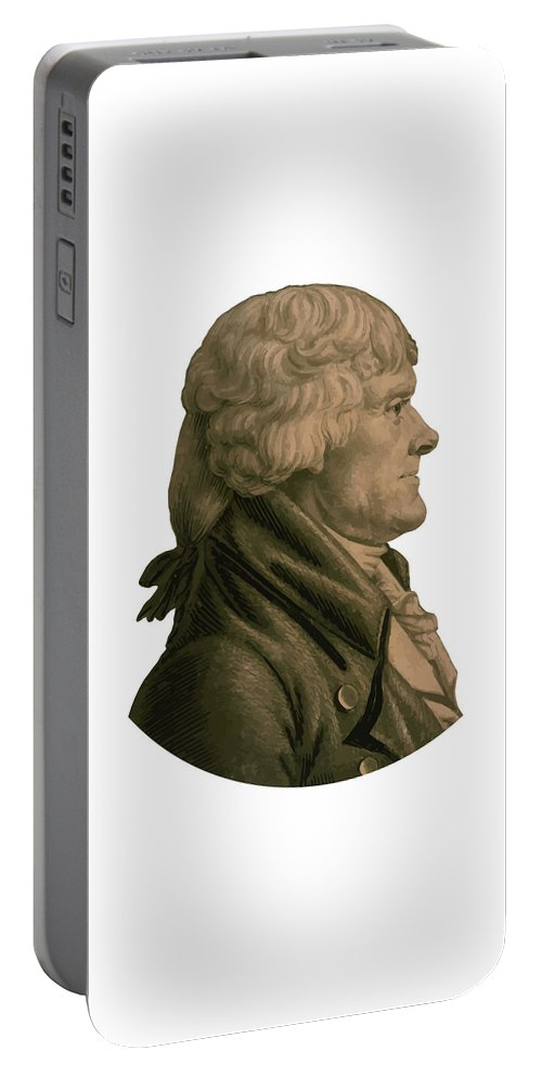 Thomas Jefferson Portable Battery Charger featuring the painting Thomas Jefferson Profile by War Is Hell Store