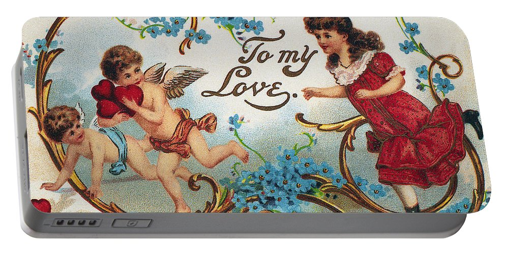 1910 Portable Battery Charger featuring the photograph Valentines Day Card by Granger