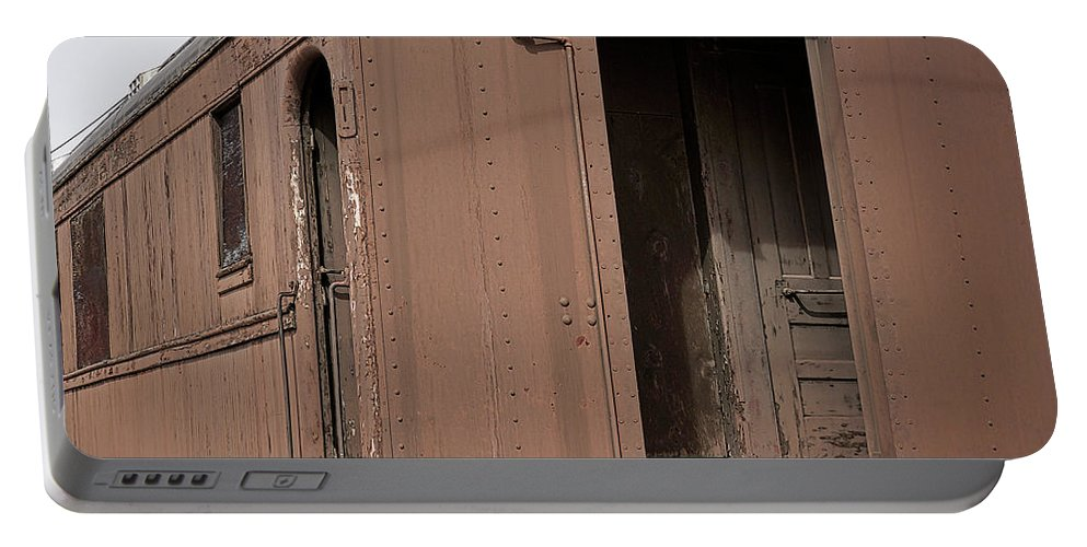 Railroad Car Portable Battery Charger featuring the photograph Waiting by Ernie Echols