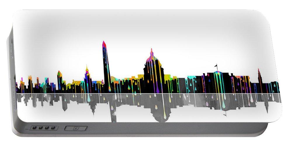 Washington Dc Skyline Portable Battery Charger featuring the digital art Washington Dc Skyline by Marlene Watson