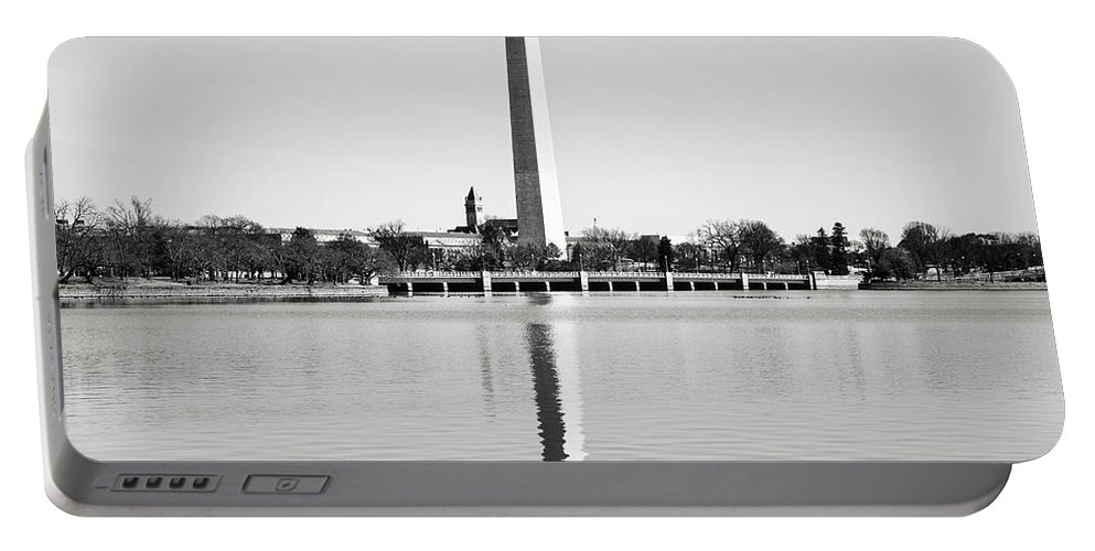 Green Portable Battery Charger featuring the photograph Washington Memorial In Washington Dc by Brandon Bourdages