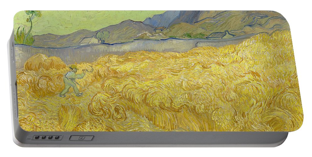 Country Portable Battery Charger featuring the painting Wheatfield With A Reaper by Vincent van Gogh