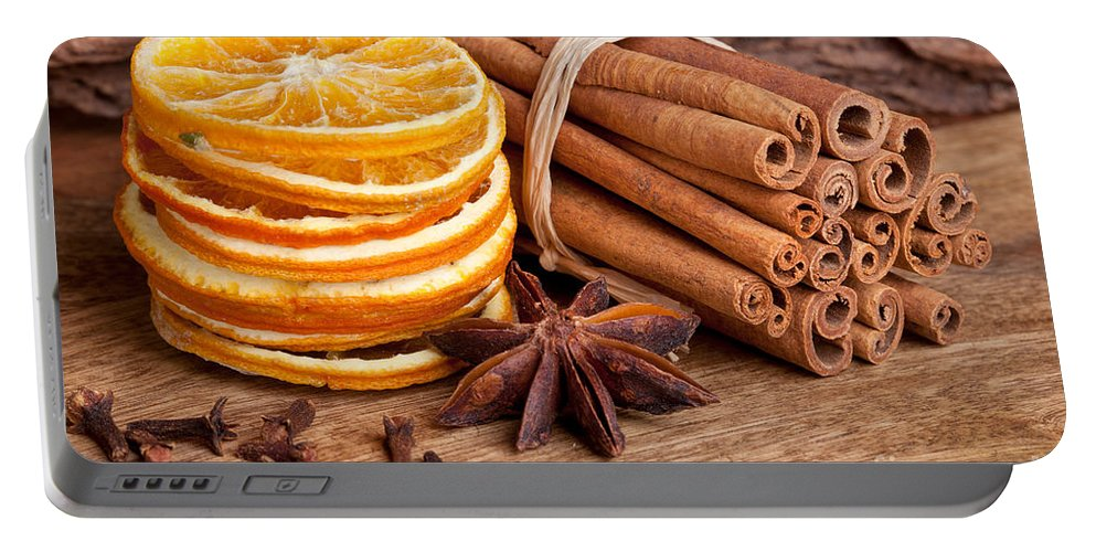 Cinnamon Portable Battery Charger featuring the photograph Winter Spices by Nailia Schwarz