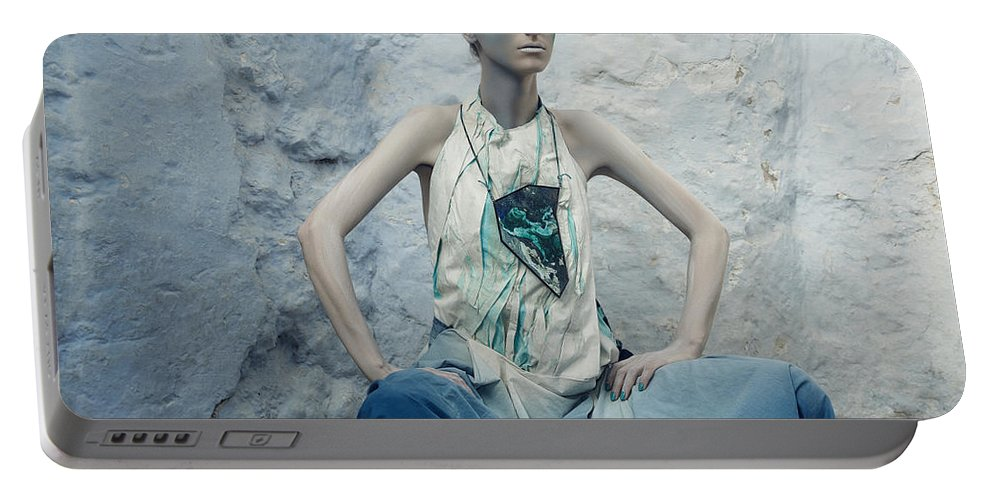 Art Portable Battery Charger featuring the photograph Woman In Ash And Blue Body Paint by Veronica Azaryan