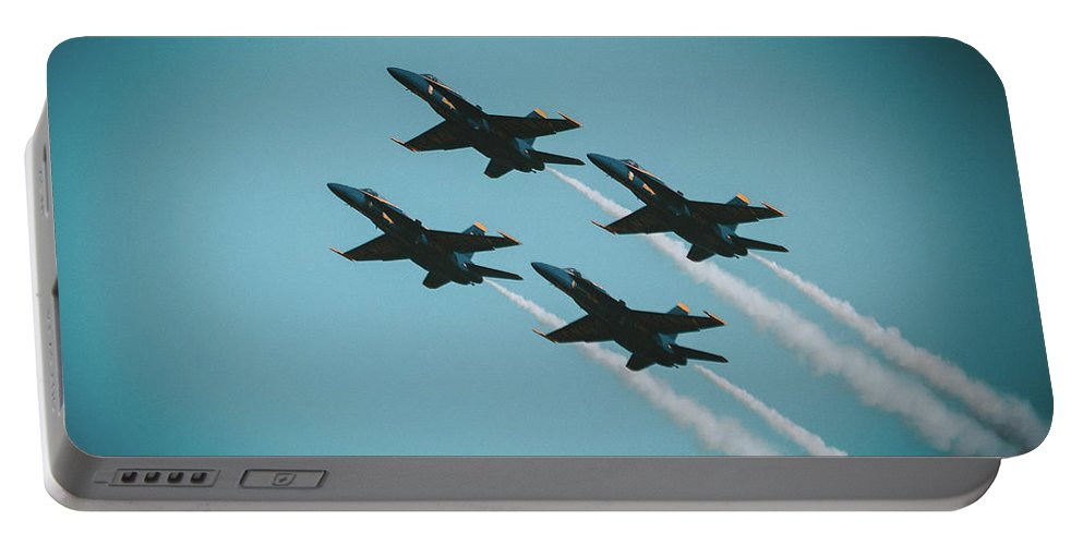 Blue Angels Fleet Week Sf 2017 Portable Battery Charger featuring the photograph 4 X4 Angels by Shaun Samuels