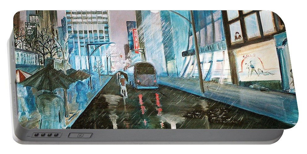 Street Scape Portable Battery Charger featuring the painting 42nd Street Blue by Steve Karol