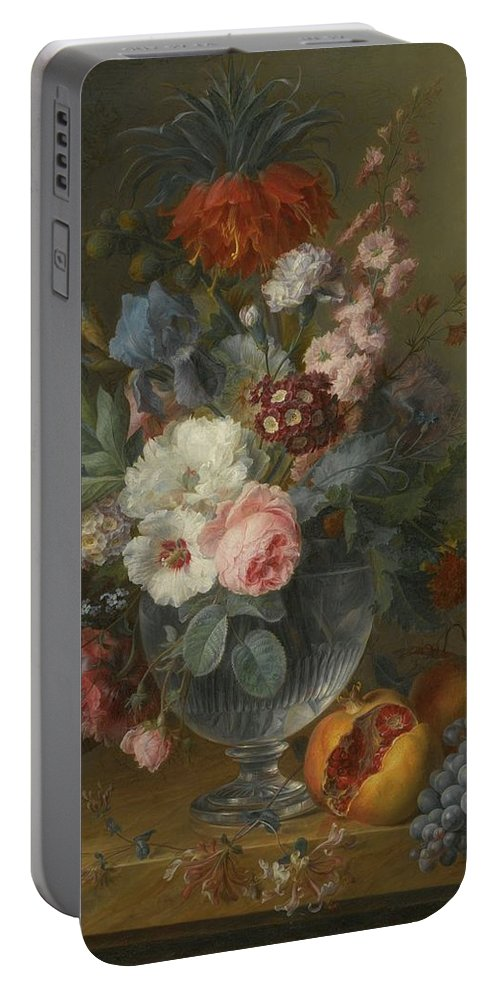 Cornelis Van Spaendonck Tilburg 1756 - 1840 Paris Still Life Of Flowers In A Glass Vase With Honeysuckle Portable Battery Charger featuring the painting Still Life by MotionAge Designs