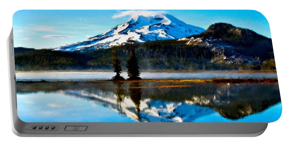 Art Portable Battery Charger featuring the digital art Landscape Oil Painting by Malinda Spaulding